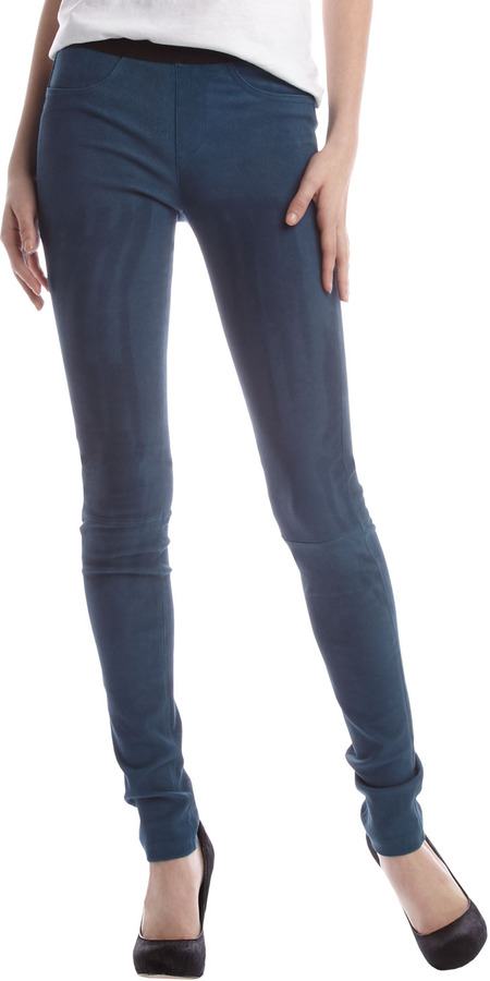 Helmut Lang Embossed Leggings, Cobalt Blue