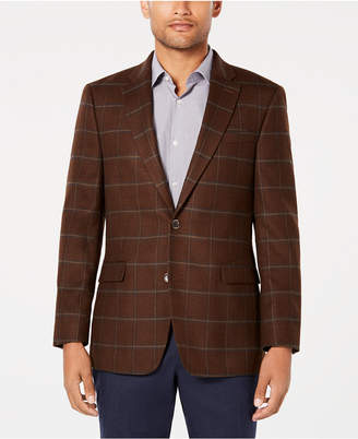 Tommy Hilfiger Men Modern-Fit Th Flex Stretch Light Brown/Blue Windowpane Sport Coat