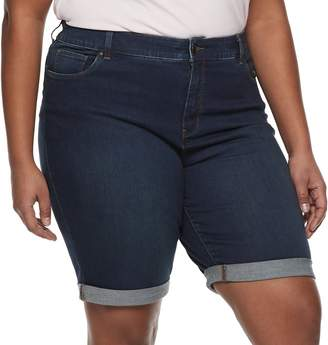 Croft & Barrow Plus Size Cuffed Denim Bermuda Shorts