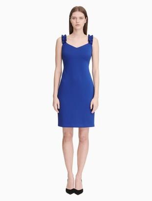 Calvin Klein Scuba V-Neck Ruffle Strap Sheath Dress