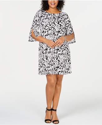 MSK Plus Size Split-Sleeve A-Line Dress