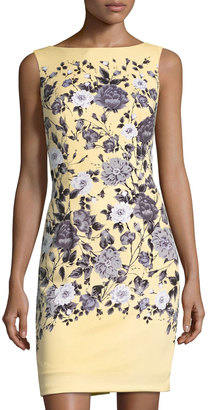 Maggy London Trailing Rose Scuba Sheath Dress, Yellow/Gray $99 thestylecure.com