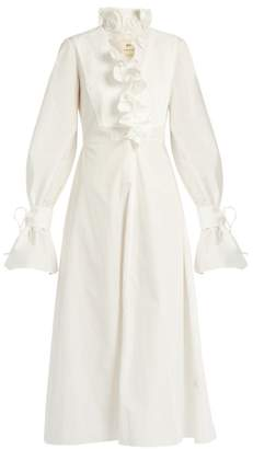 By. Bonnie Young - Ruffled Neck Cotton Dress - Womens - White