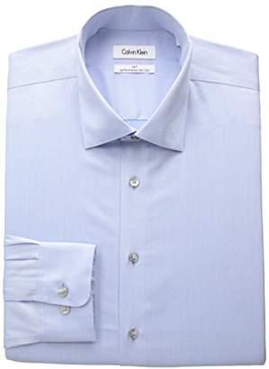 Calvin Klein Men's Non Iron Big and Tall Herringbone Spread Collar Dress Shirt