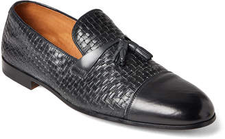 Doucal's Embossed Leather Tassel Loafers
