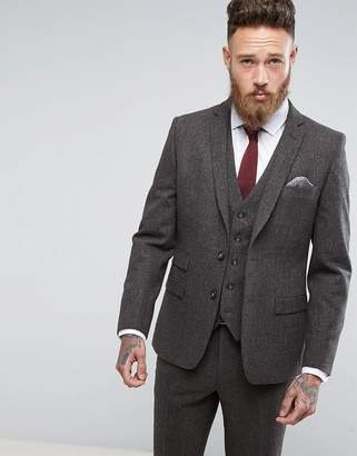 Moss Bros Skinny Suit Jacket In Brown Tweed