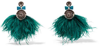 Ranjana Khan Lory Silver-tone, Feather, Mother-of-pearl And Crystal Clip Earrings - Petrol
