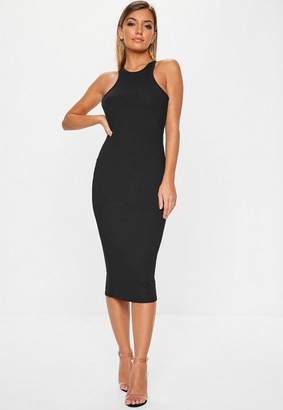 Missguided Black Ribbed Racer Neck Bodycon Midi Dress