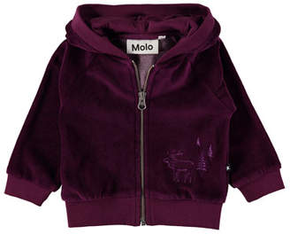 Molo Dorothy Velour Moose & Tree Embroidered Jacket, Size 6-24 Months