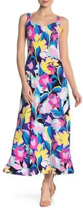 MSK V-Neck Patterned Maxi Dress