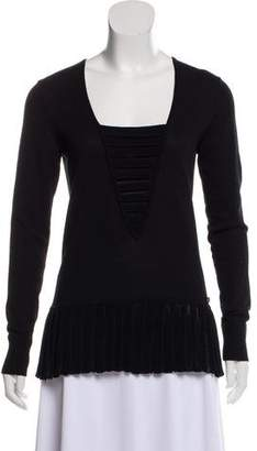 Chanel Pleated Square Neck Sweater