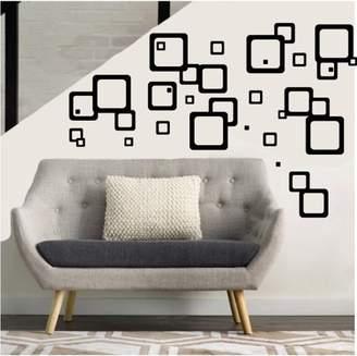 Presto Chango Decor Black Retro Mod Squares Wall Decals / Modern Geometric Wall Decor