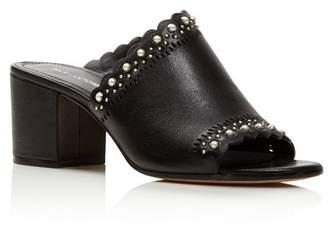Pour La Victoire Women's Amela Embellished Leather Block Heel Slide Sandals