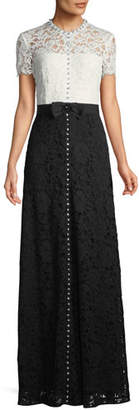 Escada Short-Sleeve Lace Evening Gown w/ Crystal Detail & Grosgrain Belt