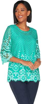 Isaac Mizrahi Live! 3/4 Sleeve Bi-Color Lace Tunic
