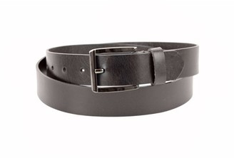 Montauk Leather Club 1-1/4 in. US Steer Hide Leather Men's Dress Belt with Polished Gunmetal Finish Buckle