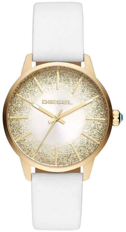 Castilla White Leather Strap Sunray Glitter Effect Dial Ladies Watch
