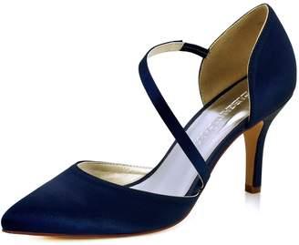 Elegantpark HC1711 Women High Heel Strappy Dress Pumps Pointy Toe Satin Wedding Party Shoes US 9