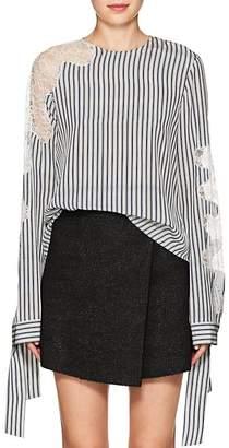 Robert Rodriguez Women's Lace-Inset Striped Blouse