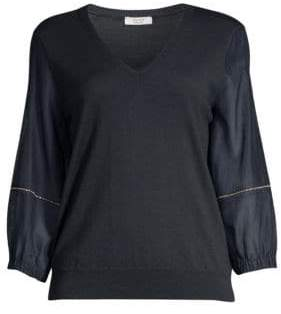 Peserico Blouson Sleeve V-Neck Sweater