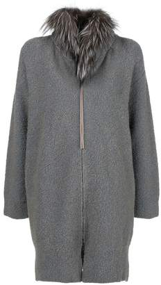 Fabiana Filippi fur-trim zipped cardi-coat