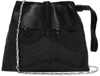 Paco Rabanne Drawstring Chainmail Leather Clutch Bag - Womens - Black