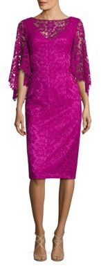 Theia Lace Flutter Sleeve Dress $595 thestylecure.com