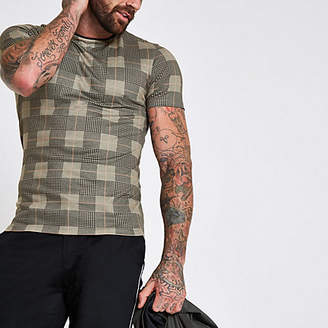 River Island Brown check print muscle fit T-shirt