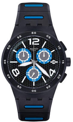 Swatch Colour Studio Collection Black Spy Black Rubber Strap Watch