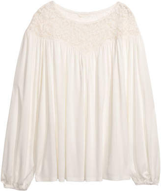 H&M Top with Lace Yoke - White