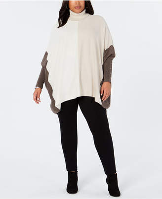 Alfani Plus Size Turtleneck Colorblock Poncho Sweater