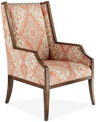 Massoud Furniture Reid Wingback Chair - Cream/Rust
