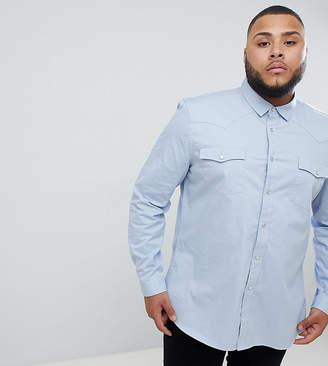 Asos DESIGN plus slim fit western shirt in blue