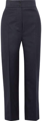 Wool-twill Straight-leg Pants - Navy