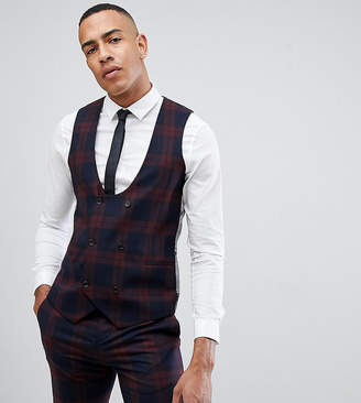 Twisted Tailor super skinny vest in burgundy check