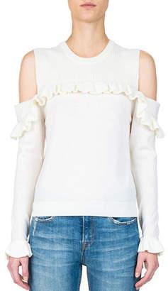The Kooples Flounced Merino Wool Cold-Shoulder Top