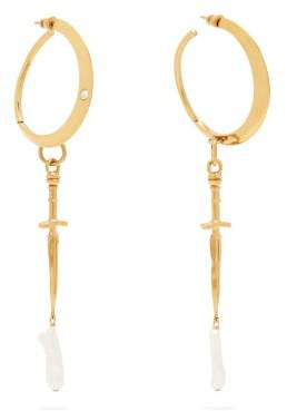 Givenchy Dagger And Pearl Drop Hoop Earrings - Womens - Gold