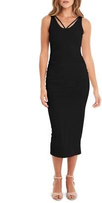 Michael Stars Reversible Stretch Cotton Midi Dress