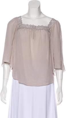 Rebecca Taylor Short Sleeve Silk Blouse