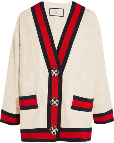 Gucci - Embellished Grosgrain-trimmed Bouclé-tweed Jacket - Ivory