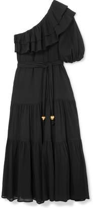dd479083c1 Lisa Marie Fernandez Arden One-shoulder Ruffled Cotton-crepon Maxi Dress -  Black