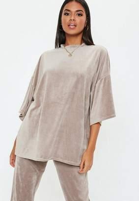 Missguided Grey Velour Oversized T Shirt