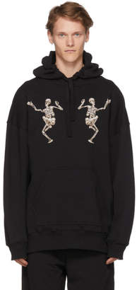 Alexander McQueen Black Embroidered Dancing Skeleton Hoodie