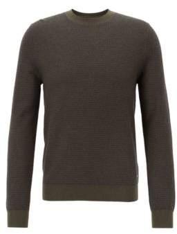 BOSS Hugo Cotton-blend sweater two-tone micro structure XL Dark Green