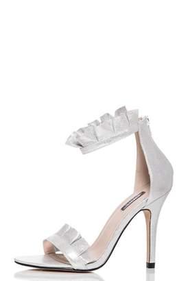Quiz Silver Shimmer Frill Heel Sandals