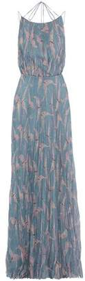 Valentino Tie-Back Pleated Printed Silk-Chiffon Maxi Dress