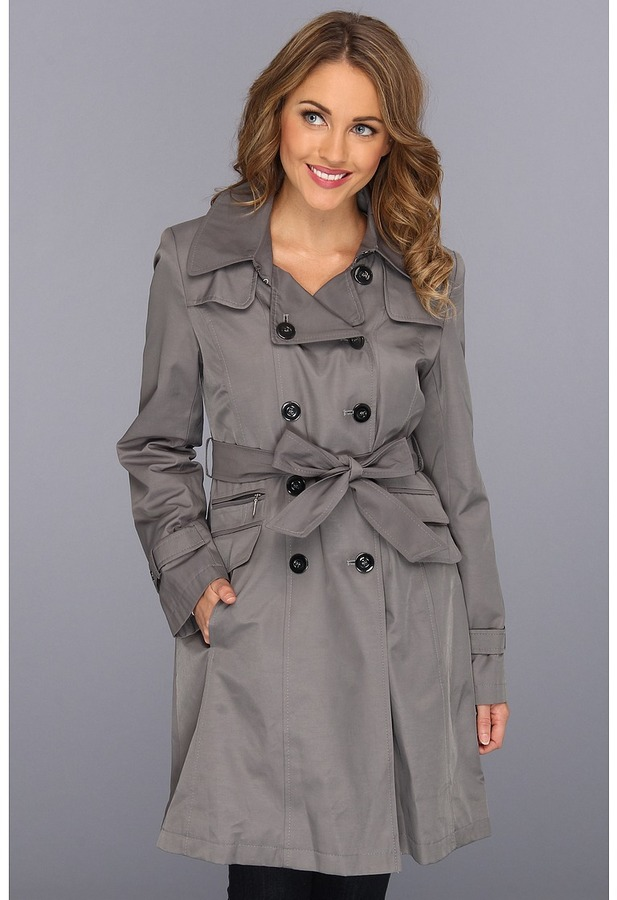 DKNY Double Breasted Wool Trench Rain Coat (Iron) - Apparel
