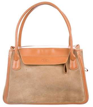 Tod's Leather-Trimmed Suede Tote