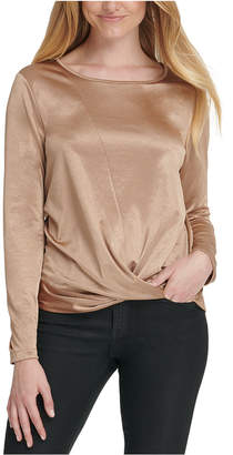 DKNY Satin Twist-Hem Top
