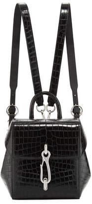 Alexander Wang Hook Mini Croc-Embossed Leather Backpack Bag
